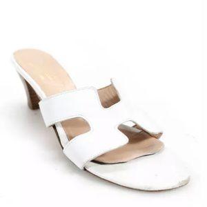 unbranded Shoes - WHITE ITALIAN LEATHER SLIDE SANDAL SIZE 37 7
